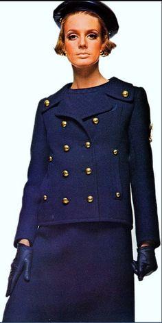 1966 Deborah Dixon in Yves Saint Laurent's military-inspired suit from Vogue Pattern Book