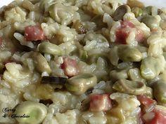 Risotto de habas y berenjena con jamón – Eggplant and fava beans risotto