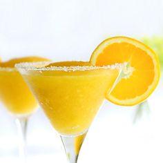 Skinny Mango Margarita: 3/4 cup frozen mango cubes, 1 ounce tequila, 1 ounce lemon juice, 1 teaspoon triple sec, blend. Could use any frozen fruit.