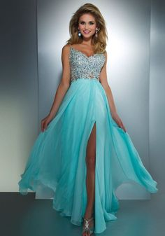 Light blue prom dress.