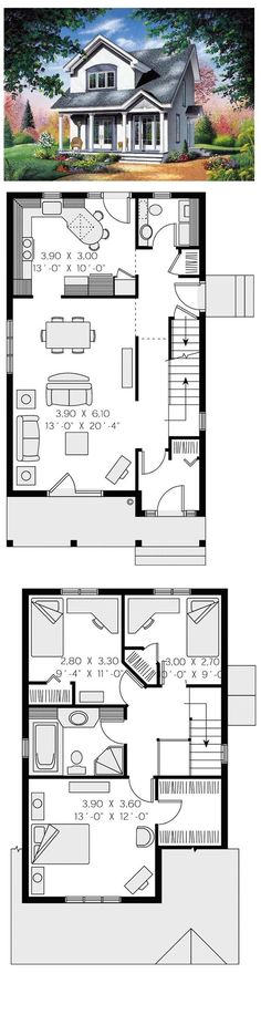 Contemporary House Plan 65286 | Total living area: 1310 sq ft, 3 bedrooms & 1.5 bathrooms. #contemporary #houseplan by sonya