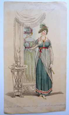 1809 ball dress - Belle Assemblee. This plate shows the back of the dress in a mirror.