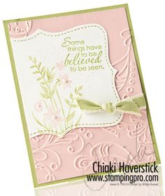 8/11/2010; Chiaki  Haverstick at 'Stamps, Ink, Paper... Create!' website; Just Believe stamp set; Top Note die; Elegant Lines EF; Blushing Bride & Pear Pizzaz