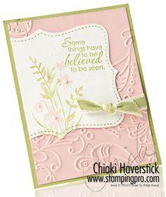 8/11/2010; Chiaki  Haverstick at 'Stamps, Ink, Paper... Create!' website; Just Believe stamp set; Top Note die; Elegant Lines EF; Blushing Bride & Pear Pizzaz