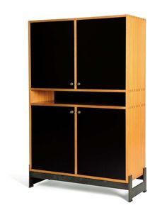 Jules Wabbes, Light Wood, Laminate and Bronze Cabinet, 1965.