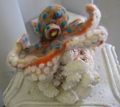 Needle Felted Blue Ringed Octopus Soft by QueenBeeByTheSea on Etsy, $68.00