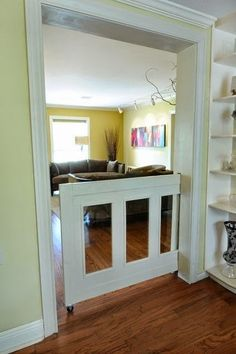 Pocket door for baby/dog gate.Whole House Remodel- Garden Oaks Open Kitchen And Living Room, Room Kitchen, Kitchen Dinning, Dining Rooms, Half Doors, Sweet Home, Diy Casa, Pocket Doors, Home Living