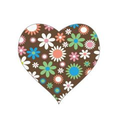 Floral Heart Sticker #Flower #Floral #Sticker