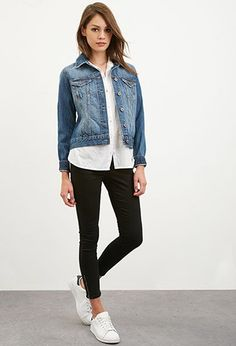 bc63a35645f9 Classic Denim Jacket layered with button down shirt and leggings with  lowcut sneaks Denim Fashion