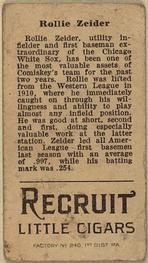 1912 Brown Backgrounds T207 #206 Rollie Zeider Back