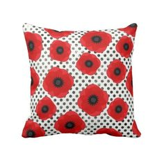 Big Red Poppy Flowers on Black and White Polka Dot Throw Pillow ($32) ❤ liked on…
