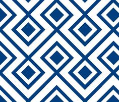 Connect the Blocks-Navy & White fabric by honey for sale on Spoonflower - custom fabric, wallpaper and wall decals