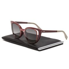 eac1e797d85f Details about Fendi FF 0136 S Cat Eye Sunglasses NZ1VK Prange   Red   Grey  Gradient Lenses