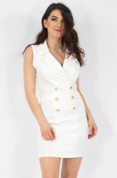Tailored Sleeveless Blazer Dress white