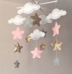 decor pictures Baby mobile - Baby girl mobile - Cot mobile - Star mobile - Cloud Mobile - Nursery Decor - Clouds and stars - Grey, pale pink and gold Baby mobile mobile Baby Mädchen Kinderbett Mobile Star Star Mobile, Cloud Mobile, Mobile Mobile, Girl Nursery, Girl Room, Nursery Decor, Room Decor, Baby Decor, Pink Bedroom For Girls