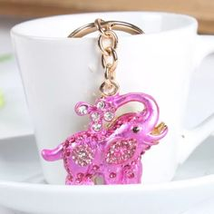 Pink elephant keychain So cute pink elephant with crystals keychain Other