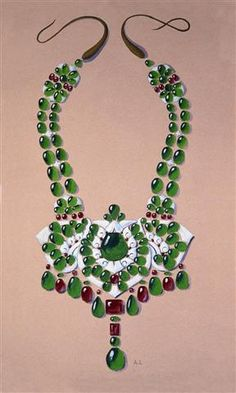 Esquisse et Croquis - Boucheron - Collier Platine - Diamants, émeraudes et rubis créé pour le Maharajah Singh de Patiala - 1928