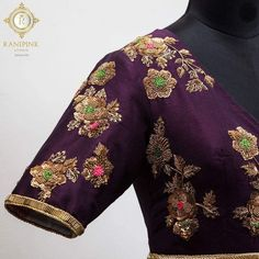 Clothes are like a good meal a good movie and a great piece of music. Beautiful violet and white color combination floor length dress with waist belt design. Floor length dress with floret lata design hand embroidery gold thread and zardosi work. 17 April 2018