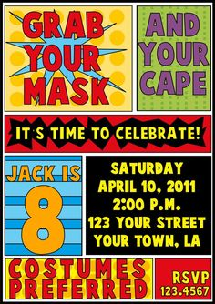 Superhero Birthday Invitation by letspartynola on Etsy, $11.00 Melissa was a DREAM to work with! :)