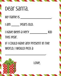 Letter to Santa Free Printables | These free printables provide templates for the kids' wish lists.