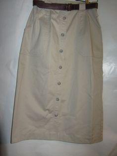 Vintage Liz Claiborne Sport Petite Modest  Modesty Khaki Skirt sz 6P Petite,  #LizClaiborne #Maxi#BELTED
