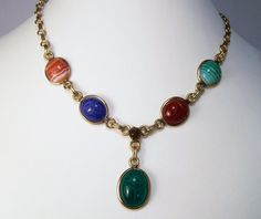 Antique Revival 6 Carved Scarab Gold Filled Necklace Banded Agate Carnelian Chrysoprase Blue Onyx Tigers Eye 814E