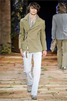 John Varvatos S/S 2012    Love the concept of the coat but it fits a little funny in the sleeves