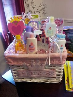 gift basket  baby ideas    princess gifts, princess, Baby shower invitation