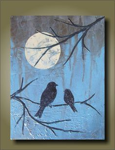 Items similar to Night Lessons/ Blue Earth Unique Sculptural Painting on Etsy - Items similar to Night Lessons/ Blue Earth Unique Sculptural Painting on Etsy im going to embroider this… Diy Painting, Painting & Drawing, Pallet Art, Bird Art, Oeuvre D'art, Painting Techniques, Painting Inspiration, Art Lessons, Cool Art