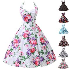 LA 1 Vintage Rockabilly Floral Retro Swing 50s 60s pinup Housewife Evening Dress #GraceKarin #TeaDress #Cocktail
