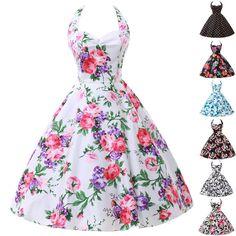 LA 1 Vintage Rockabilly Floral Retro Swing 50s 60s pinup Housewife Evening Dress #GraceKarin #TeaDress #Cocktail