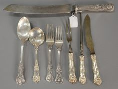 Silver English King 12 dinner forks, some marked Danlevy, 4 large serving spoons, 4 soup spoons, 4 handles, some marked Hamilton, some unmarked.