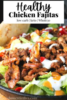 Start the new year off right with this ultra flavorful chicken fajita recipe! Loaded with flavor, but not the carbs! Healthy Chicken Fajitas, Chicken Fajita Recipe, Paleo Chicken Recipes, Herb Recipes, Paleo Recipes, Healthy Dinner Recipes, Real Food Recipes, Grill Recipes, Healthy Dishes