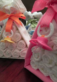 Diaper Cake Stork Bundle - Unique Baby Shower Gift, Centerpiece, Favor receiving blanket pacifier girl boy neutral. $22.50, via Etsy.