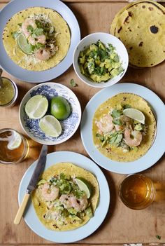 Shrimp Tortillas with Lime & Cilantro Slaw and a Spicy Salsa Verde | Verses From My Kitchen