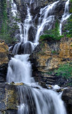✮ Tangle Falls on the Icefields Parkway. Jasper National Park, Alberta, Canada
