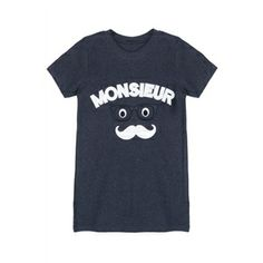 """""""MONSIEUR"""" Stitching Short-sleeved Gray T-shirt