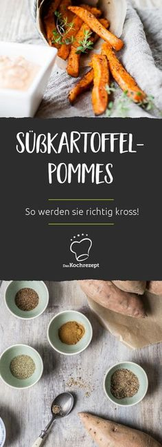 Knusprige Süßkartoffel-Pommes aus dem Ofen – so…Soooo delicious! Sweet potato fries are a great alternative to normal potato fries. The fine sweet taste goes great with burgers, steaks, fish and other oven-cooked vegetables. Steak Recipes, Grilling Recipes, Potato Recipes, Fish Recipes, Vegetable Recipes, Chicken Recipes, Healthy Recipes, Seared Salmon Recipes, Crispy Sweet Potato