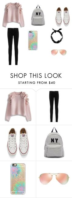 """Any Day Outfit"" by jazmine-1222 ❤ liked on Polyvore featuring Chicwish, AG Adriano Goldschmied, Converse, Joshua's, Casetify, Ray-Ban, women's clothing, women, female and woman"