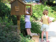 I love, love, love the idea of these, and I'm determined to have one by next summer.  http://www.littlefreelibrary.org