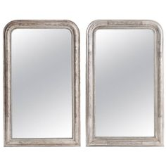 French Pair of 19th Century Louis Philippe Silver Gilt Mirror | From a unique collection of antique and modern wall mirrors at https://www.1stdibs.com/furniture/mirrors/wall-mirrors/