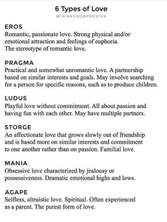 Psychologist John Alan Lee First Introduced The Idea Of The Six Styles Of Love Using Several Of The Greek Words For Love I Think Its So Interest