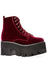 Jeffrey Campbell:The Siglin Boot in Wine Velvet, Boots for Women