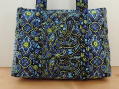 Navy Lime Green Bright Blue Paisley Print Quilted Purse Quilted Handbag by RoxannasBags on Etsy