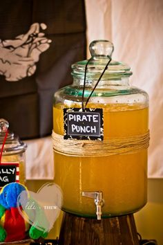 Pirate Themed Birthday Party - Kara's Party Ideas - The Place for All Things Party - Aaaaand the adults will have their own pirate punch… with alcohol. Wiggles Birthday, Wiggles Party, Pirate Birthday, 4th Birthday Parties, Birthday Fun, Birthday Ideas, Deco Pirate, Terra Do Nunca, Peter Pan Party