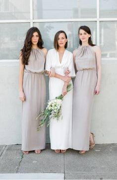 High Neck Silk Column Gown #bridesmaiddress #bridesmaid #wedding