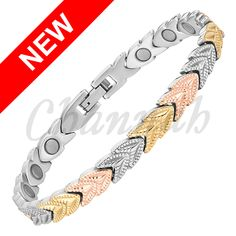 Find More Chain & Link Bracelets Information about 2016 Women 3 Tone Ladies Bangles, 18k Rose Gold, Stainless Steel Bracelet, Link Bracelets, Charm Jewelry, Silver Color, Jewelry Accessories, Lady