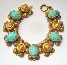JOSEFF OF HOLLYWOOD FAUX TURQUOISE CHUNKY BRACELET (Czech glass stones)