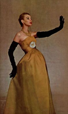 1956 Christian Dior...love this dress with the long black gloves