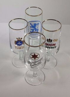 Vintage German Stemmed Beer Glasses Gold Rim Set of 4